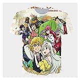 SDGDSFG Hombres Mujeres 3D Gráfico Impreso Manga Corta Camiseta Casual De Verano con Cuello Redondo, Camisetas, Tops Siete Pecados Capitales Anime Cosplay Tops (Color : G, Talla : XXX-Large)