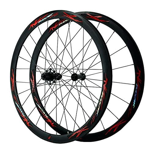 LICHUXIN 40 mm 700C Juego Ruedas Bicicleta Doble Pared QR 20/24H Rueda Bicicleta (Delantera + Trasero) Llanta Bicicleta Carretera Freno C/V 7-12 Velocidad (Color : Red, Size : 700C)