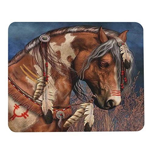 Wozukia Indian Horse Mouse Pad Decorative by Feathers in Blue Sky Mouse Pad Computer Accessories Home Office Space Cubicle Decor Gaming Mouse Pad Custom Design 9.5 X 7.9 Inch (240mmX200mmX3mm)