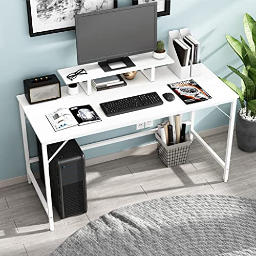 HOMEYFINE Computer Desk,Laptop Table with Storage for Controller,Wood and Metal,Study Table for Home Office,140 x 60 x 73 cm (White Finish)