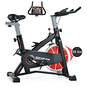 SYRINX Indoor Cycling Bike-Belt Drive Indoor Exercise Bike,Stationary Cycle Bike for Home Cardio Gym Workout (Black)