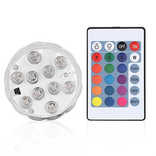 Lumières Submersibles LED,10 LED Étanche Changement de Couleur Sous-marine Électronique Lampe Ronde avec Télécommande pour jardin, aquarium, étang, piscine, cristal, fête