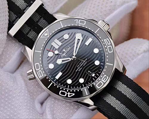 N-A Hombres clásicos de la Moda Automático Mecánico Negro Azul Gris Goma Cerámica Bisel Cristal Zafiro RelojLonaLuminosa