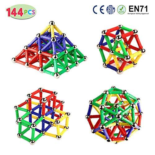 BYBOT Magnetsticks, Magnetsticks & Balls Set 144PCS, Magnetbau-Sticks, Magnetblöcke Sticks Lernspielzeug für Kinder