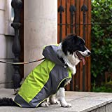 Bolbove Big Dog Hooded Raincoat Slicker Rain Poncho Waterproof Jacket for Medium to Large Dogs (6, Green)