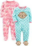 Simple Joys by Carter's Baby Girls' 2-Pack Fleece Footed Sleep and Play, Monkey/Elephant, 0-3 Months