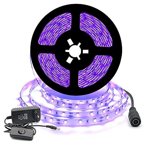 Arotelicht 12V Ensemble de Ruban LED Flexible UV Noire 5M 300leds IP20 300leds SMD2835 Bande Violet Avec Tranformateur/Bloc d'Alimentation, pour la décoration Intérieur festival, Noël