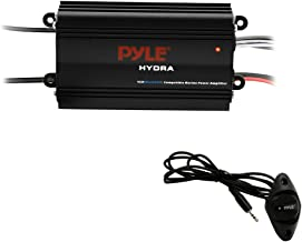 Pyle Auto 4-Channel Marine Amplifier - 200 Watt RMS 4 OHM Full Range Stereo with Wireless Bluetooth & Powerful Prime Speaker - High Crossover HD Music Audio Multi Channel System PLMRMB4CB