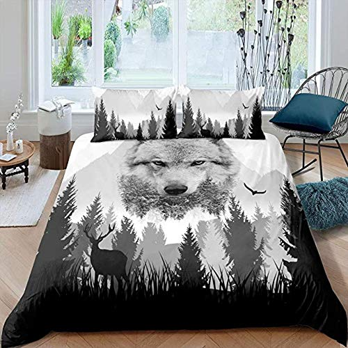 HUA JIE Cal King Duvet Cover 3Pcs Wolf Bedding Sets,Boys Cool Wildlife Style Duvet Covertrees Natural Scenery Comforter Deer Animal Bedspread Mountain Tree Bedroom Decor