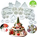 (Set of 22) Christmas Cookie Cutter Set, Fondant Plunger Cutters and Molds