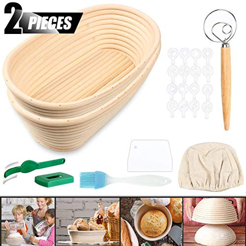 ACTENLY 10' Oval Shaped Bread Banneton Proofing Basket for Sourdough, Includes Cloth Liner + Bread Lame + Whisk + Scraper + Stencils for Professional and Home Baker Bread Making Starter (10' Oval)