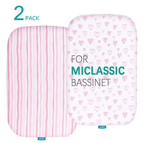 Bassinet Fitted Sheets Compatible with MiClassic 2in1 Stationary&Rock Bassinet, (2 Pack), 100% Jersey Knit Cotton Fitted Sheets, Mild Pink Stripes and Hearts Print for Baby Girls
