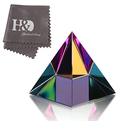 H&D Briefbeschwerer der schillernden Kristallpyramide mit Geschenkbox Regenbogenfarben Glasverzierungen Zuhause Büro Dekor