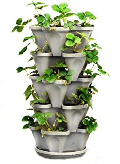 5 Tier Stackable Strawberry, Herb, Flower, and Vegetable Planter – Vertical Garden..