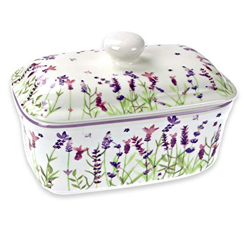 The Leonardo Collection LP94062 Lavendel-Butterdose, feines Porzellan, mehrfarbig, 17 x 10 x 11 cm