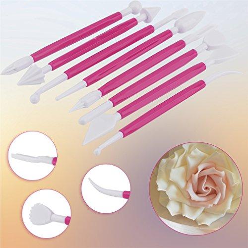 Hemore 8 Stück DIY Kunststoff Backen Kuchen Schnitzen Stift Dekorieren Werkzeug Fondant Modellieren Home Zubehör