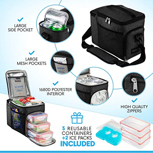 HemingWeigh Reusable Insulated Lunch Box - Durable Lunch Bag Cooler w/Spacious Storage Compartments - Includes 3 Food Storage Containers & Ice Pack (Black)