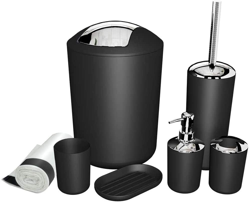 MIKOSI 6 Piece Bathroom Accessories Sets,Bathroom Set 6 Pieces Plastic Lotion Dispenser,Toothbrush Holder,Bathroom Tumblers,Soap Dish,Trash Can,Toilet Brush Set with Drawstring Trash Bags (Black)