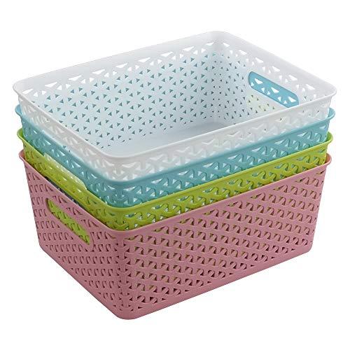 Jekiyo Plastic Storage Basket with Handles, Plastic Organizer Bins, 4 Packs