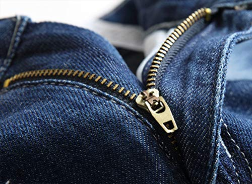 IDEALSANXUN Denim Shorts for Mens Ripped Straight Leg Jeans Shorts(Dark Blue 390, 32)