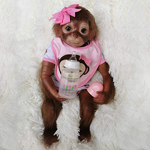 Wamdoll 20 inches 51CM Realistic Lifelike Gentle Touch Reborn Monkey Baby Dolls Weighted Body Very Soft Silicone Vinyl Collectible Flexible Doll Feel Real