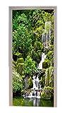 A.Monamour Pegatinas De Pared Árboles Verdes Bosque Montaña Rocas Piedras Cascada Naturaleza Paisaje Impreso Vinilo Puerta Calcomanías Papel Pintado Murales De Pared Puerta Pegatinas Posters