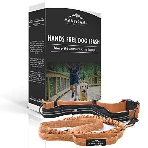 Hands Free Dog Leash for Running, Hiking, Camping with Double Handles, Adjustable Waist Pouch, Retractable & Reflective Bungee Leash for Medium – Large Dogs by MANLYCAMP