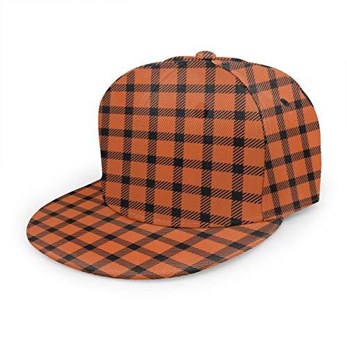 Unisex-Baseballkappe, Hip-Hop, flacher Hut, modischer Sonnenhut für Outdoor-Aktivitäten, Mini-Orange und Schwarz kariert
