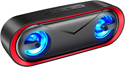 LENRUE A22 PRO Waterproof Bluetooth Speakers V5.0, 10W Portable Wireless Speaker with 24H Playtime, HD Sound and Enhanced Bass, LED Light,Support TF Card/AUX Line,for iOS, Android