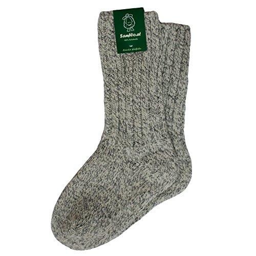 SamWo, 100% Schafwoll-Socken, dicke warme Wintersocken wie handgestrickt, SWS 42-43 Ly