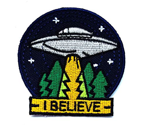 Gray UFO I Believe Flying Saucer Spaceship Star Night Sky Earth Cartoon Children Kid Patch Clothes Bag T-Shirt Jeans Biker Badge Applique Iron on/Sew On Patch