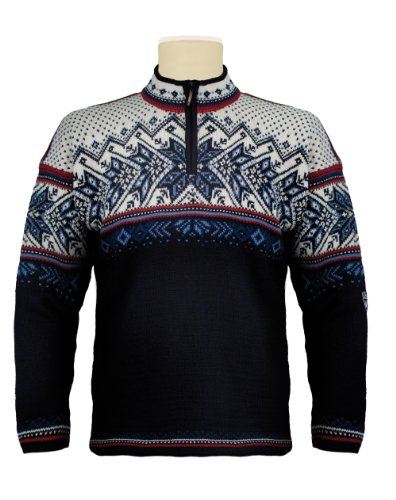 Dale of Norway Vail Pull pour Adulte XL Blue - Midnight Navy/Red Rose/Off White/Indige China Blue