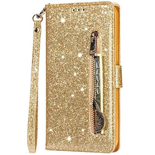 Vepbk Funda de piel para Samsung Galaxy S30, funda protectora de piel para teléfono móvil con purpurina y tarjetero, cierre magnético, cartera para Samsung Galaxy S30, color dorado