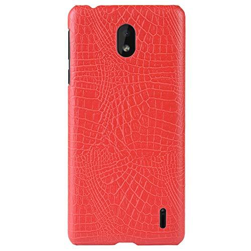 HualuBro Handyhülle für Nokia 1 Plus Hülle, Premium PU Leder Hardcase [Ultra Dünn] Lederhülle Tasche Schutzhülle Hülle Cover für Nokia 1 Plus 2019 (Rot)