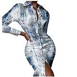 RMH - Vestido para mujer, vestido largo y falda de mujer, vestido grande, vestido de noche, elegante, vestido de noche, vestido de manga larga, vestido casual, vestido de tendencia 2021, 06-azul, M