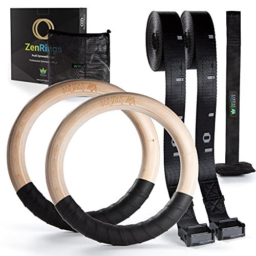 Turnringe Holz Ringe Turnen I ZenRings Fitness Gymnastikringe mit Türanker und Gurten inkl. Gratis E-Book, Workout-Guide I Crossfit Ringe Gym I Trainingsgerät für Zuhause + Outdoor (Natur)