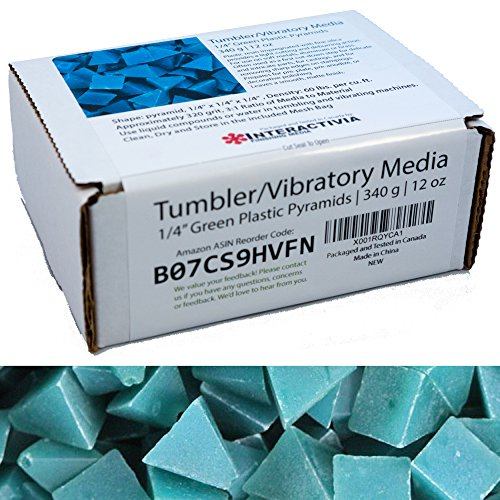 1/4 Inch Green Pyramid (Approx 320 grit) Tumbling/Vibratory Media 12 oz/340 g | Includes a (Clean, Dry and Store) Bag