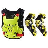Motocicletas de Motocicleta Montando Protector de Pecho Motocross Off-Road Chaleco de Carreras + Protector de la Rodilla de la Motocicleta Yellow Set XL