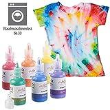 infactory Stofffarben: 6er-Set Textilfarben in Gelb, Orange, Rot, Lila, Blau, Grün, je 30 ml (Stofffarbe Set)