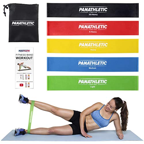 Resistance Loop Bands/Exercise Bands/Fitness Bands, Set of 5, with Exercise Guide, eBook and Carry Bag – 5X Power Body Workout Band for Legs and Butt, Yoga, Crossfit, Strength Training, Pilates