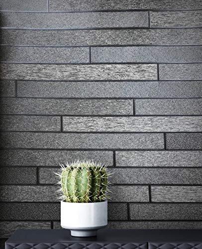 NEWROOM Tapete Streifen grau Mauer Stein Modern Vliestapete grau Vlies Steintapete Loft inkl. Tapezier Ratgeber | Streifentapete