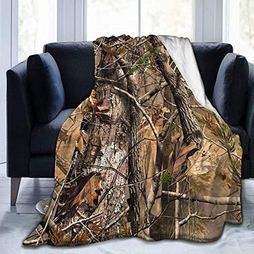 Manta de forro polar de camuflaje para sofá de cama, 60 x 50 pulgadas