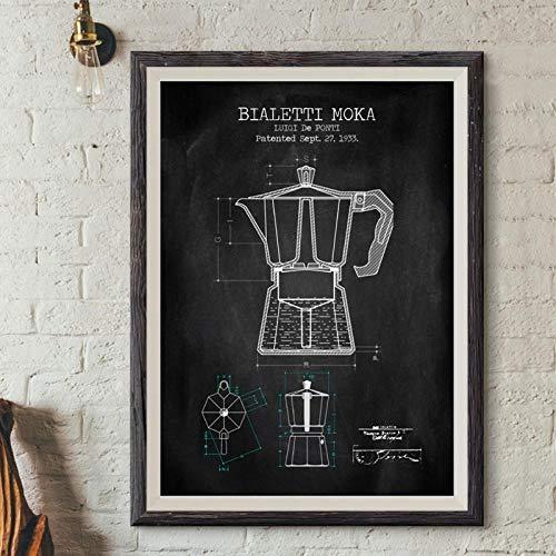LLXHGKaffeekanne Patent Poster Und Drucke Bialetti Moka Poster Kaffee Blueprint Kunst Bild Leinwand Malerei Küche Wandkunst Dekor Schwarz-50X70Cm Kein Rahmen