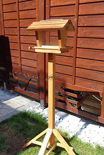 vogelhaus mit ständer BEL-X-VOFU2G-MS-dbraun002 Großes PREMIUM Vogelhaus mit ständer + 3D-Riesensilo / Futterschacht Futterautomat MASSIV + WETTERFEST, QUALITÄTS-SCHREINERARBEIT-aus 100% Vollholz, Holz Futterhaus für Vögel, MIT FUTTERSCHACHT Futtervorrat, Vogelfutter-Station Farbe braun dunkelbraun behandelt / lasiert schokobraun rustikal klassisch, Ausführung Naturholz, mit KLARSICHT-Scheibe zur Füllstandkontrolle
