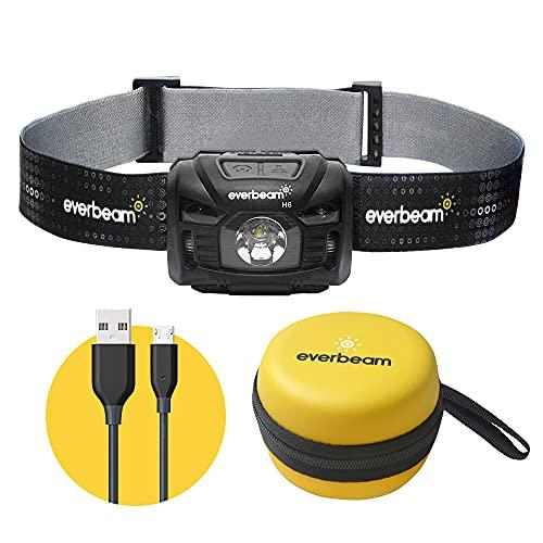 Everbeam H6 Switch LED Headlamp Head Torch, Dual Power 1200mAh Rechargeable Battery / 3 AAA Batteries, Motion Sensor, Ultra Bright 680 Lumens, 45 hrs Runtime, USB Headlight Flashlight, Waterproof