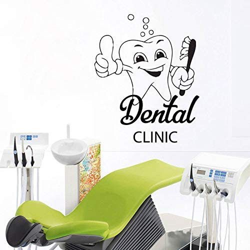 Diente de dibujos animados etiqueta de la pared extraíble decoración creativa para el hogar etiqueta de la pared de vinilo para clínica dental background42x51cm
