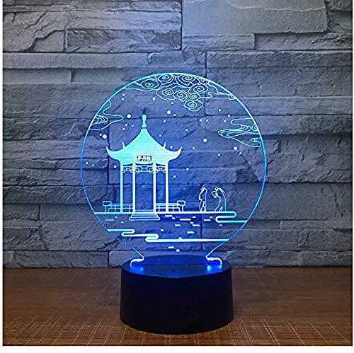 Luz nocturna 3D ilusión Luz De Noche Led Guting Ilusión Lámpara de mesa Luces con para la decoración del partido Presentes de cumpleaños Con interfaz USB, cambio de color colorido
