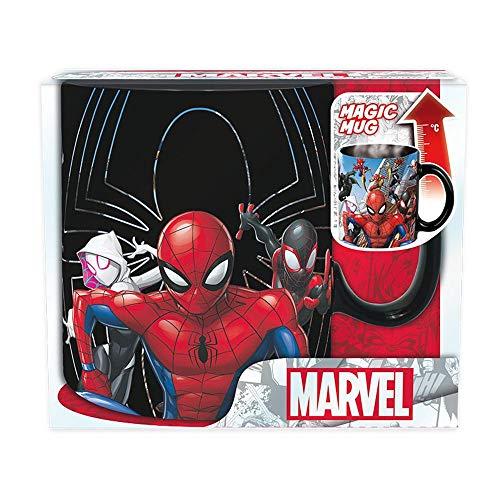 Spiderman – Taza – Multiverse – Taza de café con efecto térmico – Spiderman – Helden y villanos – XXL Mug – Cerámica – Caja de regalo
