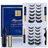 12 Pairs 3D Magnetic Eyelashes Kit With 3 Tubes Of Magnetic Eyeliner Magnetic Lashliner For Use with Magnetic False Lashes Natural Look,Easier To Use Than Traditional Magnetic Eyelashes No Glue Needed