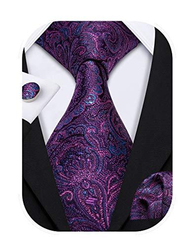 Barry.Wang Paisley-Krawatte, Einstecktuch, Manschettenknöpfe, Krawatten für Herren, gewebte Seide - Violett - Einheitsgröße